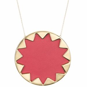 House of Harlow Sunburst Pendant Necklace in Red